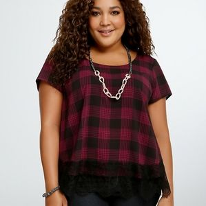 Torrid Plaid Tulip Back Blouse Lace Trim Flowy 4X